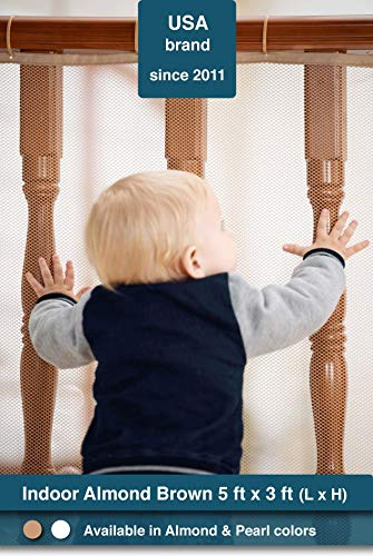 Roving Cove | Railing Safety Net | Baby Safety Banister Guard | Baby Proofing Stair Balcony Rail Protector | Child Safety Gate Cover | Pet Toy Safety | Safe Rail | Indoor 5ft L x 3ft H | Almond Brown