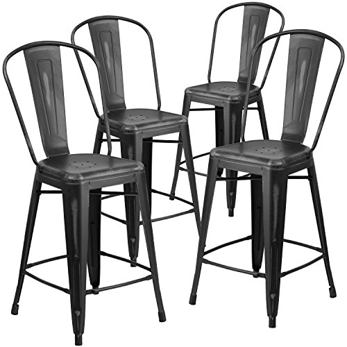- Flash Furniture 4 Pk. 24'' High Distressed Black Metal Indoor-Outdoor Counter Height Stool with Back