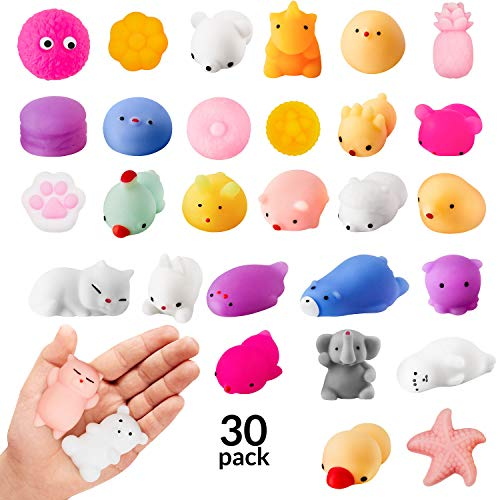 Squishies 30 Pack Random Kawaii Squishy Mochi Set Mini Soft Squeezable Sensory Fidget Toys Decoration and Stress Relief for Party Favors, birthdays and goodie bag, Bulk Items