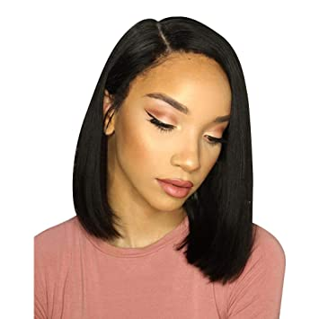 Clearance Sale! Exteren Curly Wig Glueless Full Lace Wigs Glueless Bob Wig  Brazilian Straight Short Lace Hair Wigs For Black Women (Black)