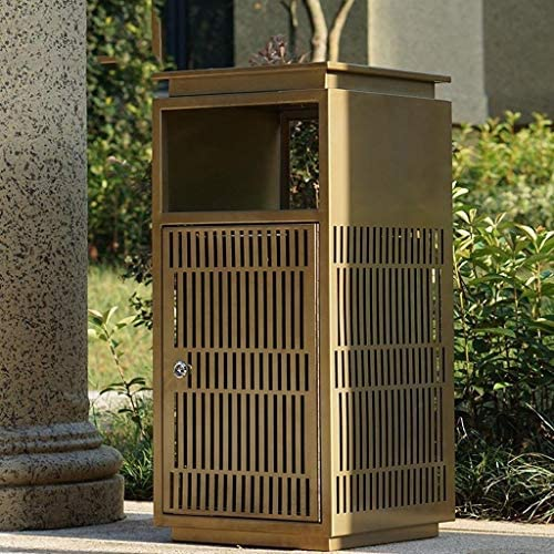 インテリア 屋外の屋内ステンレス鋼のゴミ箱は、中空の金属板で飾られた側面の開いたグレーとゴールドステンレス鋼のゴミ箱 ホーム&キッチン (Color : Gold)