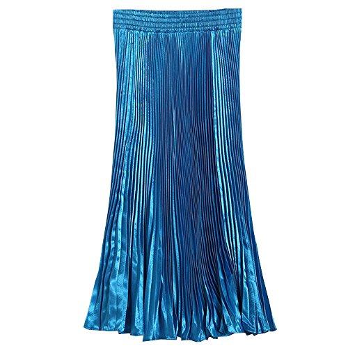 Mousseline Longue Taille Femmes de en Bleu Soie BOZEVON Pliss Jupe Elastique Robes RwZwq0