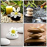 NAN Wind Zen Canvas Wall Art Spa Still Life with Green Bamboo Fountain and Zen Stone Jasmine Flower Painting Pictures for Home Decoration Modern Painting Wall Decor Canvas