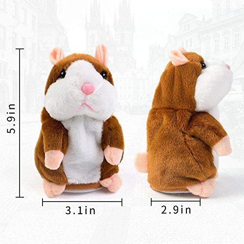 Qual80 Plush Interactive Toys PRO Talking Hamster Repeats What You Say Electronic Pet Chatimals Mouse Buddy for Boy and Girl, 5.7 x 3 inches