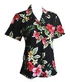 Women's Hibiscus Floral Hawaiian Aloha Camp Shirt (S, BLACK)