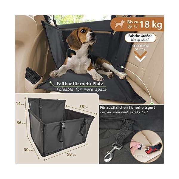51xJ%2BZ3U 0L WUGLO Extra Stabiler Hunde Autositz - Verstärkter Autositz für kleine und mittlere Hunde mit 4 Befestigungsgurten…