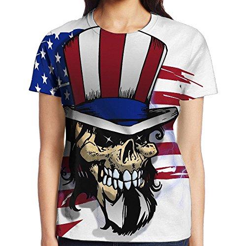 NavyLife Women's American Skulls Casual Crew Neck Baseball Tee Short Sleeves Shirt Slim Fit Sports - In Jeans Beyonce Skinny