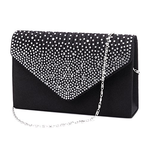 Nodykka Women Evening Envelope Rhinestone Frosted Handbag Party Bridal Clutch Purse Shoulder Cross Body Bag (Black) Evening Clutch