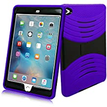 iPad Mini 4 Case, [Heavy Duty] Bvgande Apple iPad Mini 4 (2015 Release) Le Mes Series [Dual Layer] Hybrid Full-body Protective Case with Front Cover and Built-in Kickstand / Bumpers (Purple)