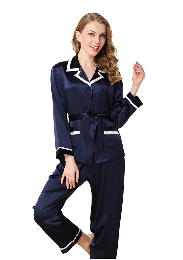 Colorful Silk Luxury Silk Pajamas Sets Homewear Beautiful Gifts Deep Blue M