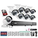 Annke 8CH POE Security Camera System with 8x 2.0 Mega-Pixels Day/Night Vision CCTV Cameras and 6.0MP High Definition Real-time Live Viewing NVR (1TB HDD)