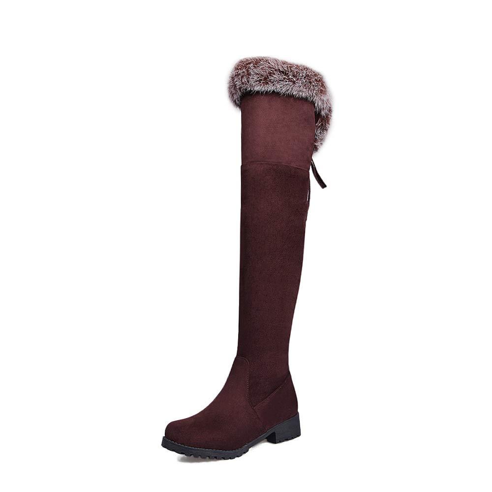 SHINIK Frauen Wildleder Overknee Overknee Overknee Stiefel 2018 Winter Warme Plüsch Ritter Stiefel Größe 33-43 a90d24