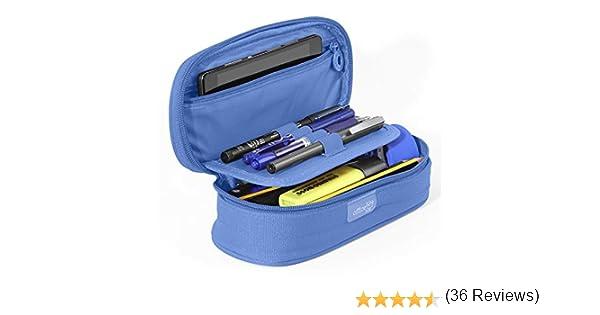 PracticOffice - Estuche Multiuso Megapak Oval para Material Escolar, Neceser de Viaje o Maquillaje. Medida 22 cm. Color Azul Claro: Amazon.es: Oficina y papelería