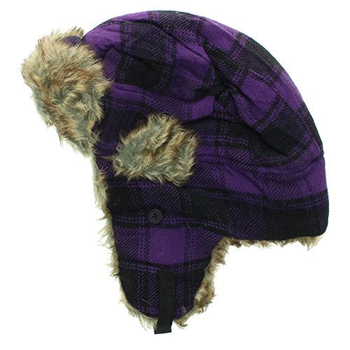 Milani Cotton Plaid Trapper Aviator Hunting Faux Fur Winter Hat - Ear Flap and Strap (Purple)