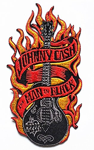 Johnny Cash the MAN in Black House Blues Classic Guitar Flame Logo Patch Biker Motorcycle Rider Patch Jacket T Shirt Patch Sew Iron on Embroidered Symbol Badge Cloth Sign (Johnny Cash Patches)