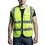Panegy 360 Degrees High Visibility Safety Vest Biker Safety Vest with Reflective Tapes Neon Yellow XL