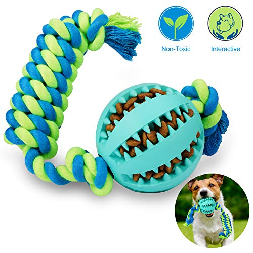 Hapet Pet Dog Treat Ball Dog Chew Toy Cotton Rope Ball, Interactive IQ Non-Toxic Rubber Treat Tooth Cleaning Toy for Dogs Puppy Cat Training Playing Chewing(Blue)