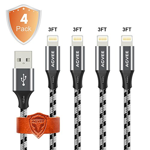 Ends Tip Unbreakable Cruel 4A Current Heavy Duty, Agvee 4 Pack 3FT 1m Knit Lightning Cable Set Charger Nylon Braided Durable Fast Cord Ties to USB Sync Charging in Car for Apple iPhone X 8 7 6s 6 iPad