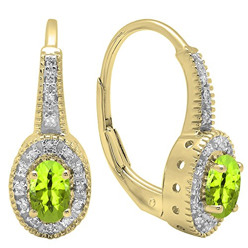 Dazzlingrock Collection 14K 6X4 MM Each Oval Peridot & Round Diamond Ladies Halo Style Hoop Earrings, Yellow Gold