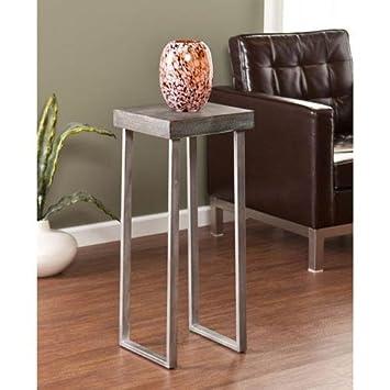 Southern Enterprises Nolan Pedestal Accent Table, Square, Burnt Oak Silver