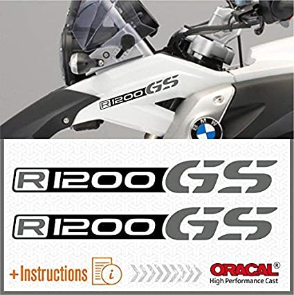 Black//Grey 2pcs R1200 GS BMW Motorrad R 1200 Adventure Autocollant R1200GS