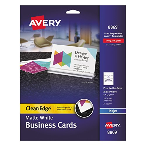 Avery 8869 Print-to-the-Edge True Print Business Cards, Inkjet, 2x3 1/2, White (Pack of 160)