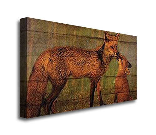 BABY FOX AND MOMMA CANVAS - 12 X 24 X 1