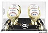 Mounted Memories Cincinnati Reds 4-Ball Golden Classic Logo Baseball Display Case