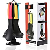 6 Pieces Nylon Silicone Kitchen Cooking Utensils Set with Holders and 360 Degree Rotating Carousel Stands,Spatula,Ladle,Solid Spoon,Slotted Spoon,Slotted Turner,Spaghetti Server