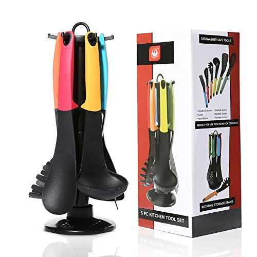 6 Pieces Nylon Silicone Kitchen Cooking Utensils Set with Holders and 360 Degree Rotating Carousel Stands,Spatula,Ladle,Solid Spoon,Slotted Spoon,Slotted Turner,Spaghetti (Nylon Kitchen Utensil Solid Spoon)