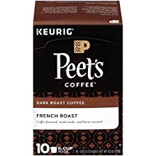 Peet's Coffee, French Roast, Dark Roast, K-Cup Pack (10 ct.), Single Cup Coffee Pods, Bold, Intense Dark Roast Blend of Latin American Coffees, Smoky, Flavorful Bite, for All Keurig K-Cup Brewers