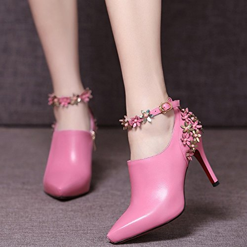 Spring and Summer Europe and The United States Fashion Shoes Boots High-Heeled Women's Boots Single Shoes Women Pink Gqse9fDjcT