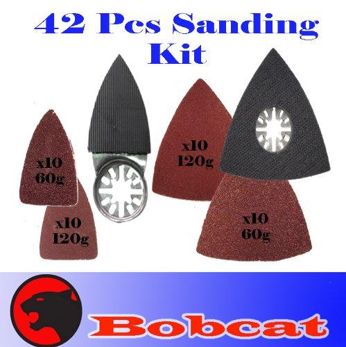 42 Pcs Triangular / Finger Sanding Kit Sanding Pad w/ Oscillating Multi Tool Saw Blades Sand for Fein Multimaster Bosch Multi-x Craftsman Nextec Dremel Multi-max Ridgid Dremel Chicago