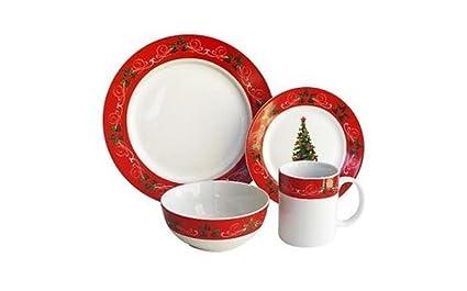 American Atelier V228-16-SET Classic Christmas Dinnerware Set Red  sc 1 st  Amazon.com & Amazon.com | American Atelier V228-16-SET Classic Christmas ...