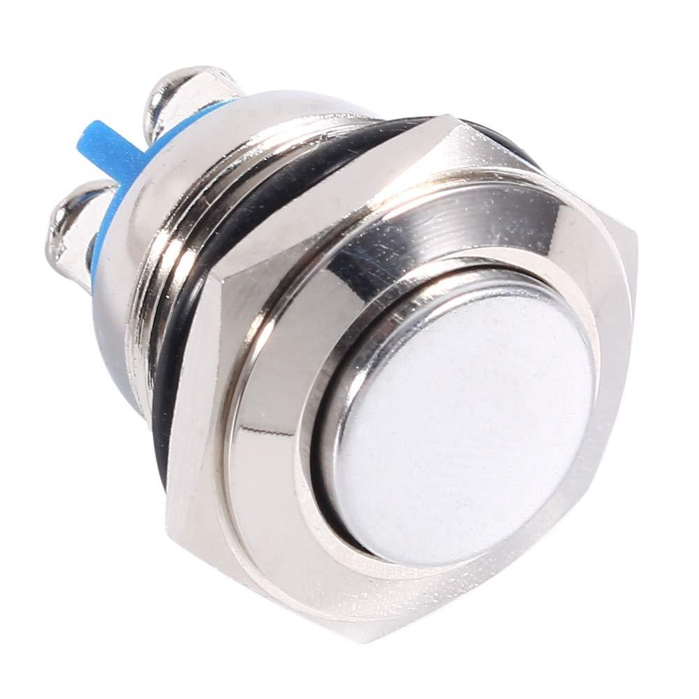 XingYue Direct 12V 16mm Impermeable Impermeable Pulsador de Metal moment/áneo Encendido Apagado Interruptor de bocina Plateado