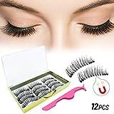 12 PCS Magnetic Eyelashes, Upgraded 3D Magnetic Eyelashes, Thick Reusable Magnetic Eyelashes, Ultra Thin Best Magnetic Eyelashes with Tweezers