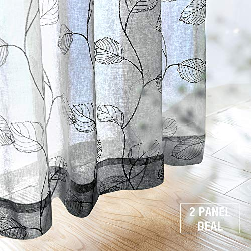 Sheer Curtains Grey for Living Room Geometric Leaf Embroidered Window Curtains 95 inch Voile Botanical Tile Drapes Bedroom Kitchen Rod Pocket 2 -