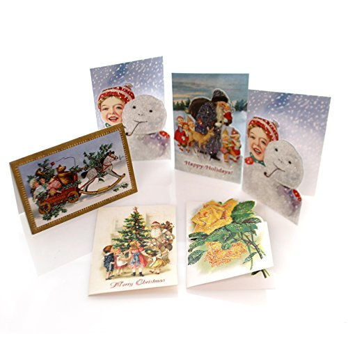 Old World Christmas 6 ASSORTED MINI HOLIDAY CARDS Paper Gift Tag Snowman Set (Christmas Postcards Old)