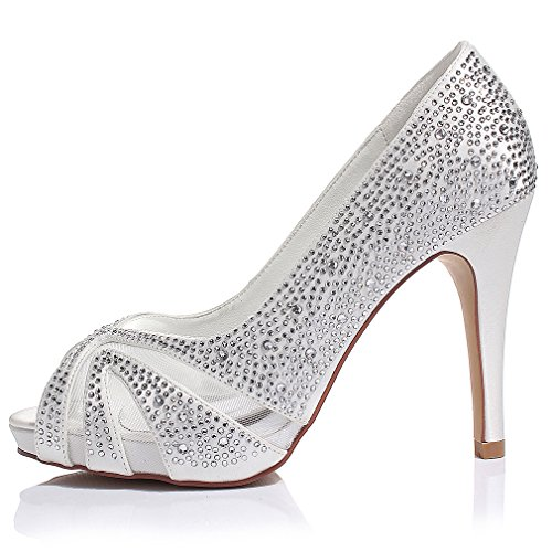 Luxveer Zapatos De Tacón De Satén Con Diamantes De Imitación Plateados Zapatos De Boda Tacón Medio De 4 Pulgadas Con Punta Blanca