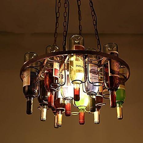 TYDXSD Lámparas de araña de arte botella para restaurantes bares cafeterías bar decorado lámpara living comedor