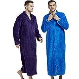 ❤️ Men Women Nightgown Robe Half Sleeve Loungewear Full Length Sleepwear Zipper Duster Housecoat with Pockets S-XXL (L, Blue)