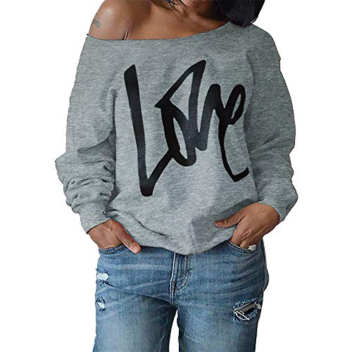Londony Fashion Clothing in Womens Love Sweatshirt Letter Print Off The Shoulder Slouchy Pullover Tops (Best Christmas Crackers Australia)