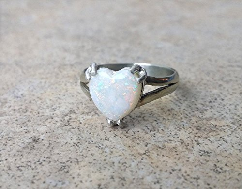 Opal ring / Genuine Opal ring - in Sterling Silver or gold - White Opal / Opal Heart ring / October Birthstone