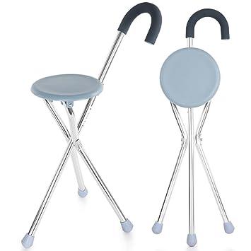 Amazon.com: wymname bastón plegable asiento, silla de caña ...