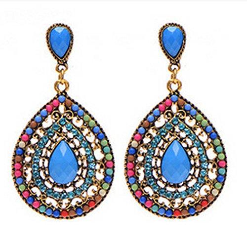 - Voberry Women's Retro Bohemia Teardrop Crystal Drop Dangle Earrings (Red)