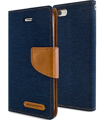 iPhone 5SE Case, iPhone SE/5S/5 Case, [Drop Protection] GOOSPERY Canvas Diary [Denim Material] Wallet Case [ID Credit Card and Cash Slots] with Stand Flip Cover (Navy) IP5-CAN-NVY
