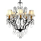 Versailles Wrought Iron and Crystal 5-light Chandelier with Shades