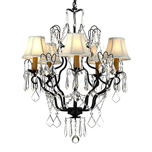 Versailles Wrought Iron and Crystal 5-light Chandelier with Shades by Gallery