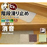 おくだけ消臭階段カーペット 14枚入り と 床用のおくだけカーペット2枚 (ベージュセット)