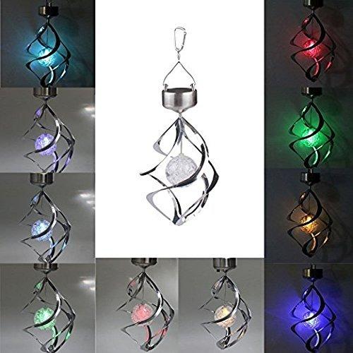 Goshopping Solar Power light Wind Spinner LED Light Outdoor Garden Courtyard Hanging Chime Lamp Lawn Light